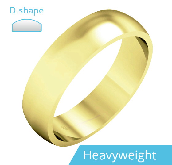 Plain Wedding Band for Men in 9ct Yellow Gold, Polished, D Shaped, Heavy Weight-img1