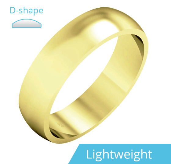 Plain Wedding Band for Men in 9ct Yellow Gold, Polished, D Shaped, Light Weight-img1