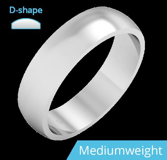Einfacher Ehering für Mann in 950 Palladium, poliert, D-förmiges Profil, Mittelgewicht-img1