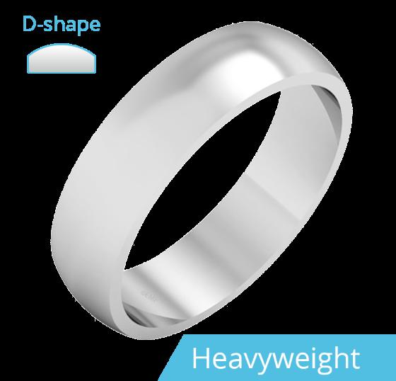 RDWG030UH - 950 Palladium Herren D-förmiger Schwergewicht polierter Ehering-img1