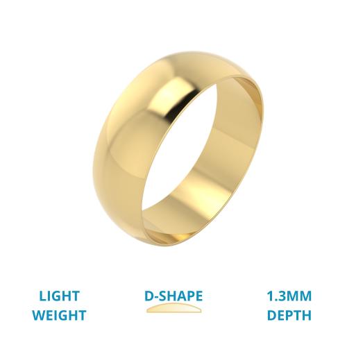 Einfacher Ehering für Mann in 18kt Gelbgold, poliert, D-förmiges Profil, Leichtgewicht-img1