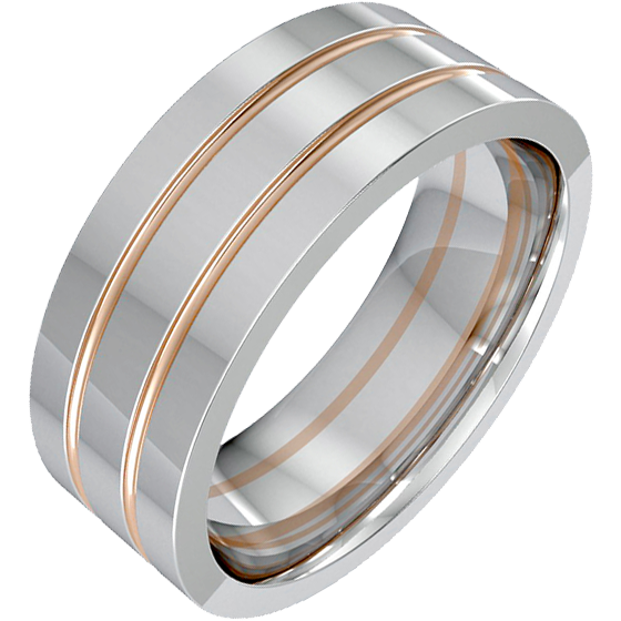 243c3f802a495 Plain Wedding Ring for Men in 18ct White Gold with Two Rose Gold Grooves,  Flat Top/Courted Inside, Width 7.75mm