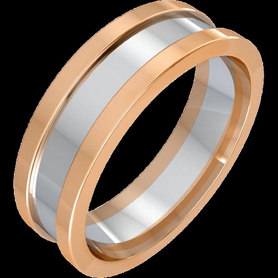 Einfacher Ehering für Mann in 18kt Weißgold und Roségold mit erhöhten Roségold Kanten, Breite 6.75mm-img1