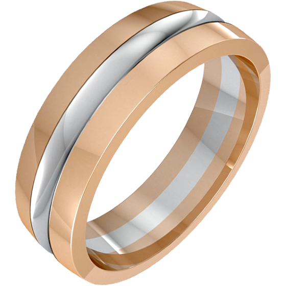 Plain Wedding Ring For Men In 18ct White And Rose Gold