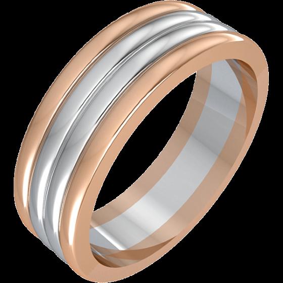 Einfacher Ehering für Mann in 18kt Weißgold und Roségold mit 4 Reihen, Breite 7mm-img1