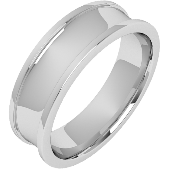 Einfacher Ehering für Mann in 18kt Weißgold mit gewölbter Mitte und erhöhten Kanten 6mm breit-img1
