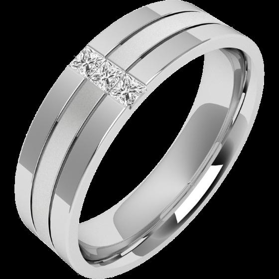 Diamantring/Ehering mit Diamanten für Mann in Palladium mit 3 Princess Schliff Diamanten sandgestrahlter Mitte & hochglanzpolierten Kanten-img1