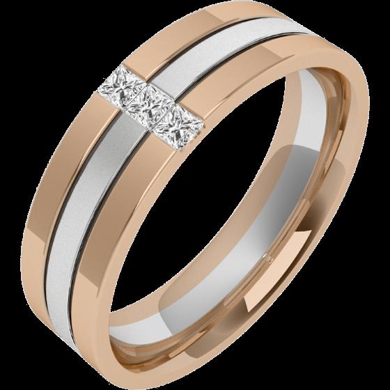 Verigheta/Inel cu Diamant Barbat Aur Alb si Aur Roz 18kt cu 3 Diamante Princess, Latime 6.5mm, Centru Sablat, Margini Lustruite-img1