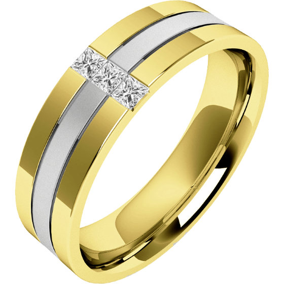 Diamantring/Ehering mit Diamanten für Mann in 18kt Weißgold und Gelbgold mit 3 Princess Schliff Diamanten sandgestrahlter Mitte & hochglanzpolierten Kanten-img1