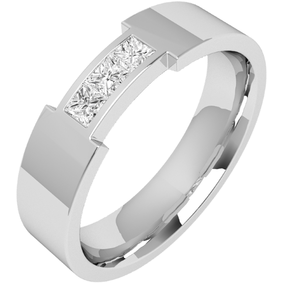 Verigheta/Inel cu Diamant Barbat Platina cu 3 Diamante Princess, Latime 6mm, exterior Plat, Interior Rotunjit-img1