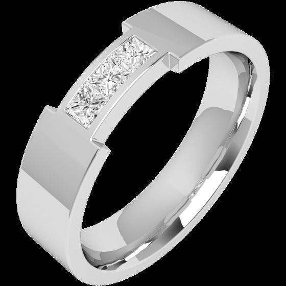 Verigheta/Inel cu Diamant Barbat Aur Alb 18kt cu 3 Diamante Princess, Latime 6mm, exterior Plat, Interior Rotunjit-img1