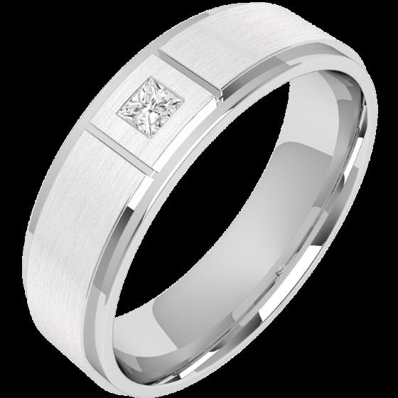 Verigheta/Inel cu Diamant Barbat Platina cu Diamant Princess si Centrul Mat Sablat, Latime 6mm-img1