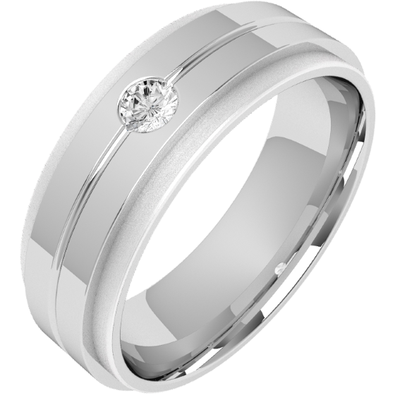 Diamond Ring/Diamond set Wedding Ring for Men in palladium with a round brilliant cut diamond in a thin channel, flat top/courted inside, width 6mm-img1
