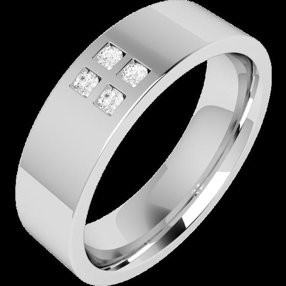 Verigheta cu Diamant Barbat Platina cu 4 Diamante Rotund Briliant in Centru Exterior Plat Interior Rotunjit-img1