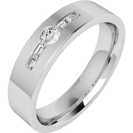 Diamond Ring/Diamond set Wedding Ring for Men in palladium with a round brilliant cut diamond and 2 baguette cut diamonds, flat top/courted inside, width 6mm-img1
