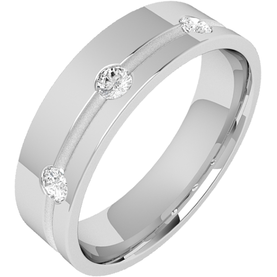 Diamond Ring/Diamond set Wedding Ring for Men in palladium with 3 round brilliant cut diamonds along a thin channel on one side, flat top/courted inside, 6mm-img1