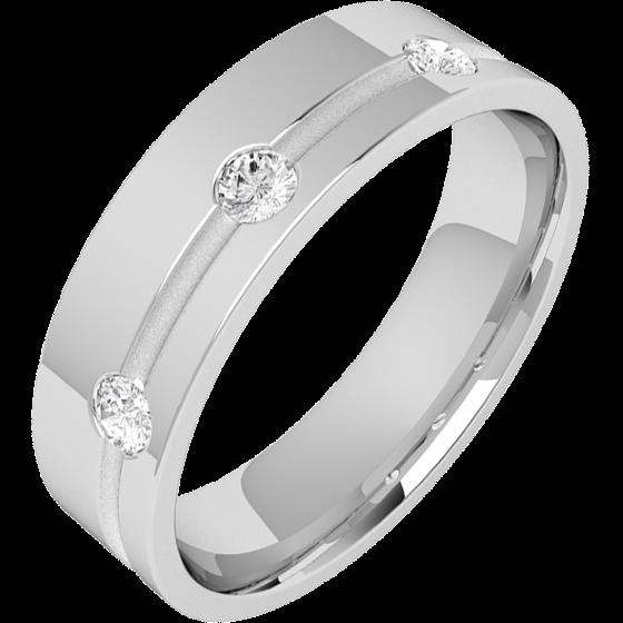 Verigheta/Inel cu Diamant Barbat Aur Alb 18kt cu 3 Diamante Rotund Briliant, Latime 6mm, Exterior Plat Interior Rotunjit-img1