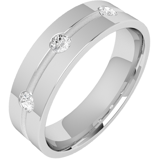 Diamond Ring/Diamond set Wedding Ring for Men in palladium with 3 round brilliant cut diamonds along a thin channel in the centre, flat top/courted inside, 6mm-img1