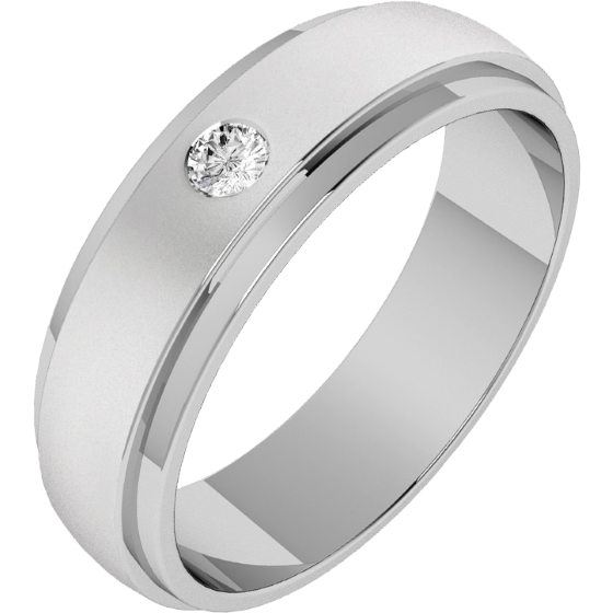 Diamond Set Wedding Ring For Men In Palladium With A Round Brilliant Cut And Court Profile Width 6mm