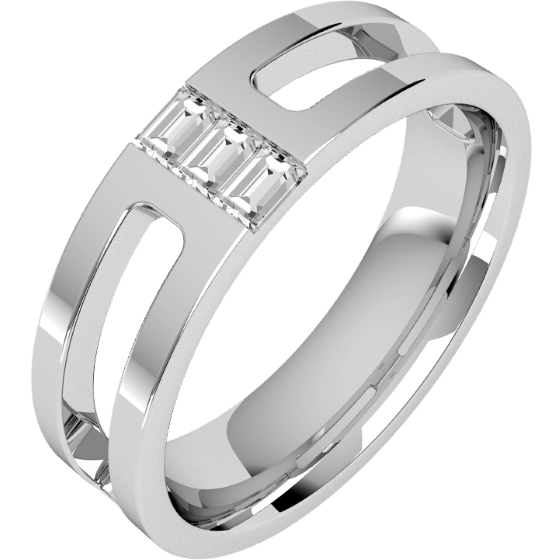 Verigheta/Inel cu Diamant Barbat Platina cu 3 Diamante Bagheta, Top Plat, Interior Rotunjit, Latime 6mm-img1