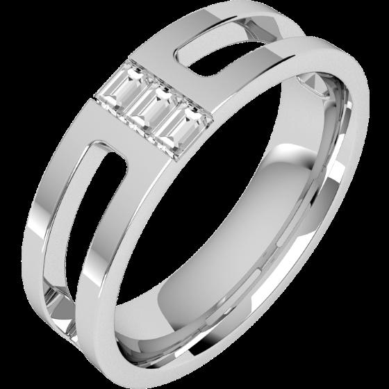 Diamantring/Ehering mit Diamanten für Mann in 18kt Weißgold mit 3 Baguette Schliff Diamanten, Breite 6mm, außen flach/innen bombiert-img1