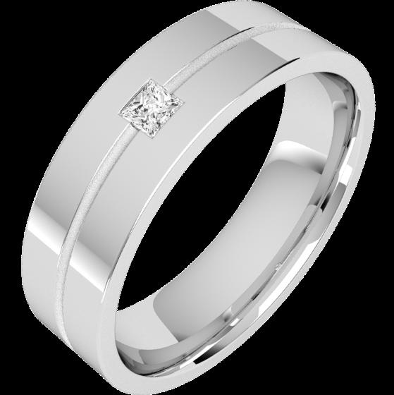 Diamantring/Ehering mit Diamanten für Mann in Palladium mit einem Princess Schliff Diamanten auf einem dünnen Kanal, außen flach/innen bombiert, 6mm-img1