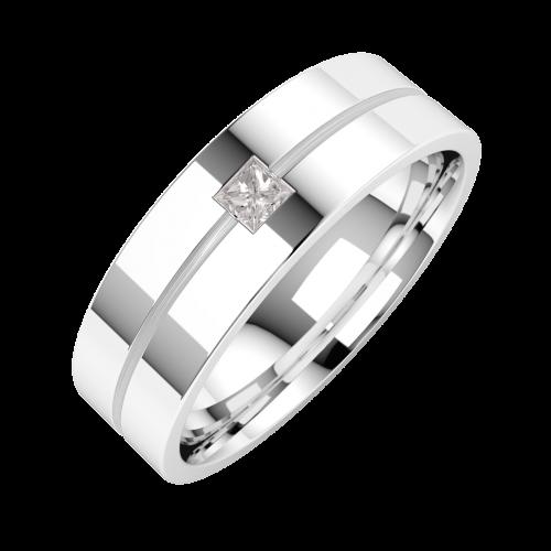 Diamantring/Ehering mit Diamanten für Mann in 18kt Weißgold mit einem Princess Schliff Diamanten auf einem dünnen Kanal, außen flach/innen bombiert, 6mm-img1