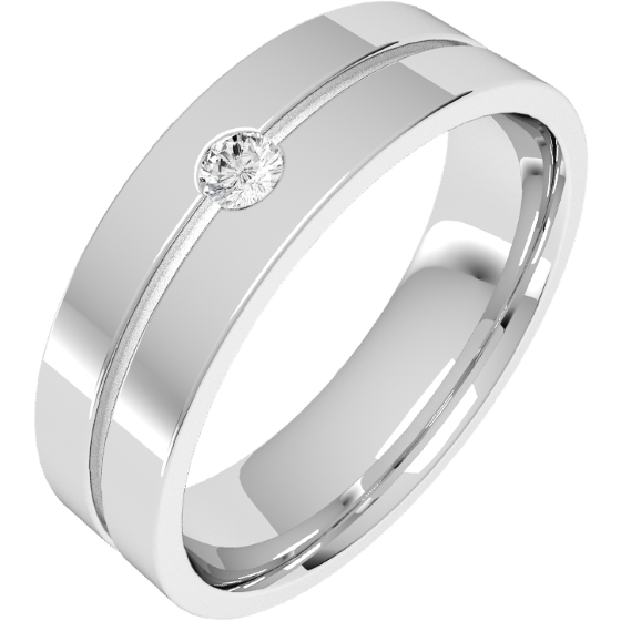Diamond Ring/Diamond set Wedding Ring for Men in palladium with a single round brilliant cut diamond, flat top/courted inside, width 6mm-img1