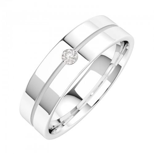 Diamantring/Ehering mit Diamanten für Mann in 18kt Weißgold mit einem runden Brillanten, flache Oberseite/bombierte Innerseite-img1