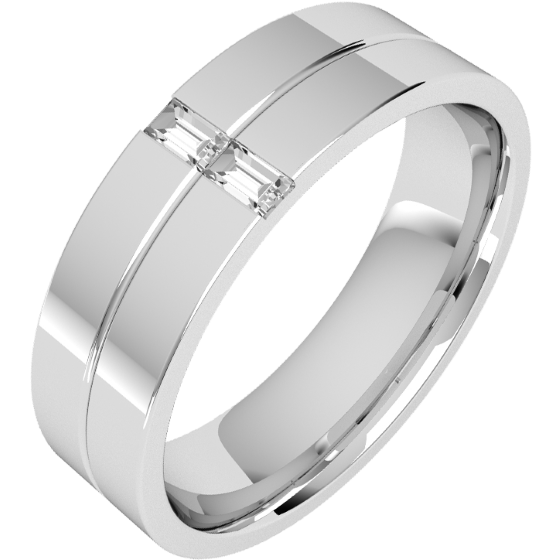 Verigheta/Inel cu Diamant Barbat Platina cu 2 Diamante Forma Bagheta, Latime 6mm, Top Plat, Interior Rotunjit-img1
