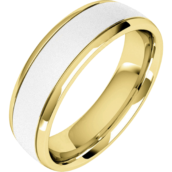 Plain Wedding Band For Men In 18ct White And Yellow Gold With A Sandblasted Centre Court