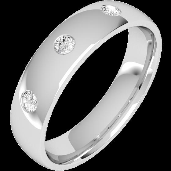 Diamantring/Ehering mit Diamanten für Mann in Palladium mit drei runden Brillanten, bombiertes Profil, 6mm breit-img1