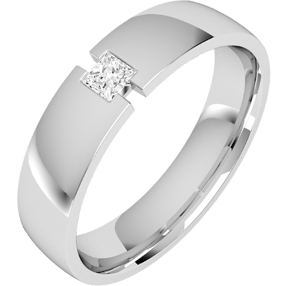 Diamond Ring/Diamond set Wedding Ring for Men in palladium with a princess cut diamond, court profile, 6mm wide-img1