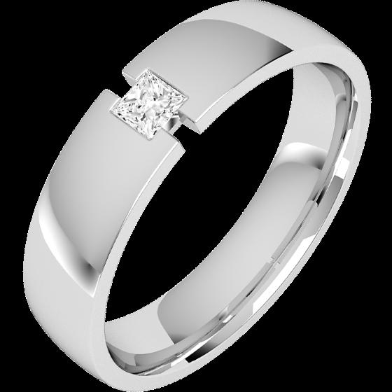 Verigheta/Inel cu Diamant Barbat Aur Alb 18kt cu Diamant Princess, Latime 6mm, Profil Bombat-img1