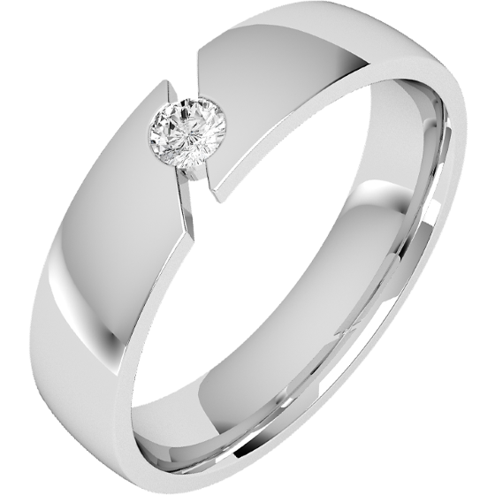 Diamond Ring/Diamond set Wedding Ring for Men in palladium with a round brilliant cut diamond, court profile, 6mm wide-img1