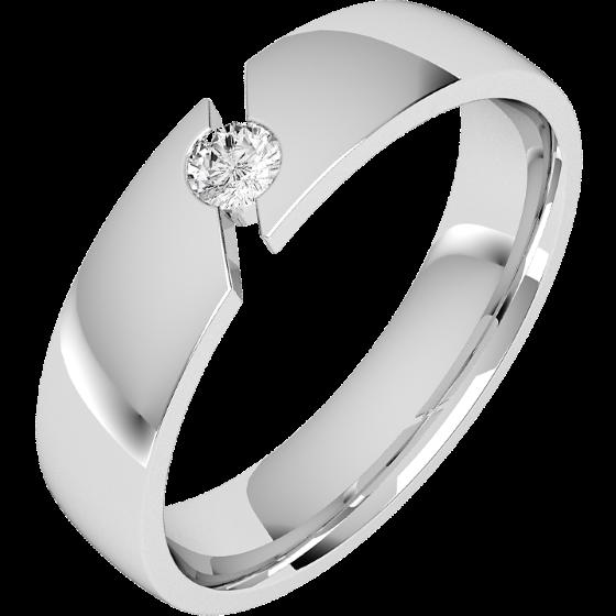 Diamantring/Ehering mit Diamanten für Mann in 18kt Weißgold mit einem runden Brillant Schliff Diamanten, 6mm breit, bombiert-img1