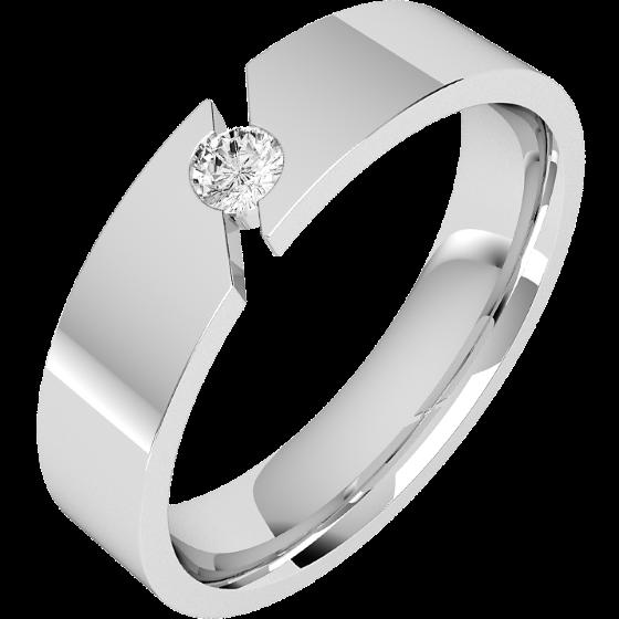 Verigheta cu Diamant Barbat Platina cu Diamant Rotund Briliant Exterior Plat Interior Rotunjit Latime 6mm-img1