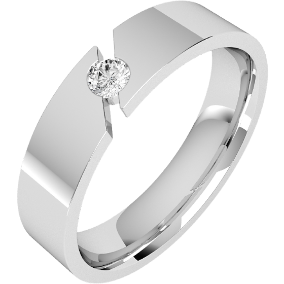 Diamond Set Wedding Ring for Men in Palladium with a Round Brilliant Cut Diamond, Flat Top/Courted Inside, Width 6mm-img1