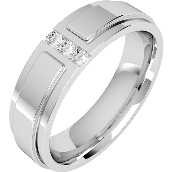 Verigheta/Inel cu Diamant Barbat Platina cu trei Diamante Rotunde, Latime 6mm, Top Plat, Interior Rotunjit-img1