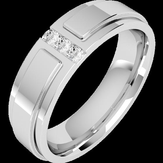Diamantring/Ehering mit Diamanten für Mann in 18kt Weißgold mit 3 runden Brillanten, flache Oberseite/bombierte Innerseite, Breite 6mm-img1