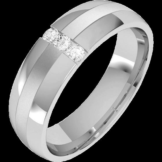 Verigheta/Inel cu Diamant Barbat Platina cu 3 Diamante Rotund Briliant, Profil Bombat, Latime 6mm-img1