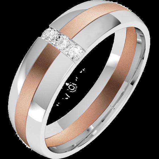 Verigheta/Inel cu Diamant Barbat Aur Alb si Aur Roz 18kt cu 3 Diamante Rotund Briliant, Profil Bombat, Latime 6mm-img1