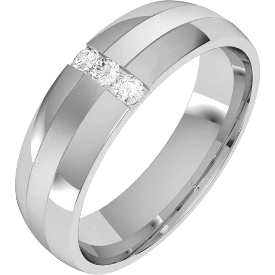 Diamond Ring/Diamond set Wedding Ring for Men in palladium with 3 round brilliant cut diamonds, court profile, width 6mm-img1