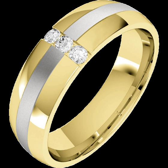 Verigheta/Inel cu Diamant Barbat Aur Galben si Aur Alb 18kt cu 3 Diamante Rotund Briliant, Profil Bombat, Latime 6mm-img1