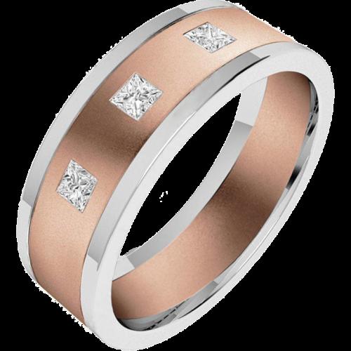 Verigheta/Inel cu Diamant Barbat Aur Roz si Aur Alb 18kt cu trei Diamante Princess, Latime 6.25mm, Top Plat, Interior Rotunjit-img1