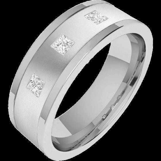 Diamantring/Ehering mit Diamanten für Mann in Palladium mit 3 Princess Schliff Diamanten, außen flach/innen bombiert, 6mm-img1