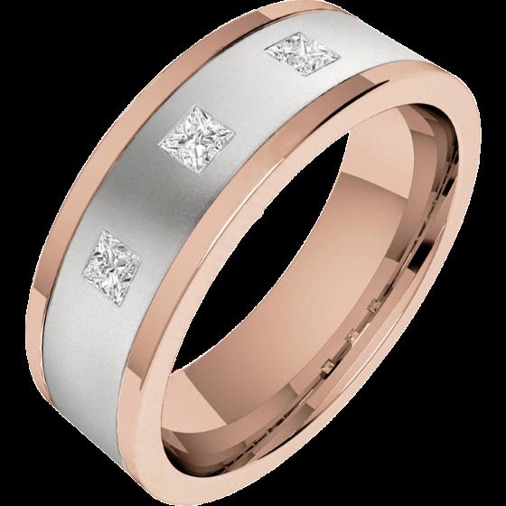 Verigheta/Inel cu Diamant Barbat Aur Alb si Aur Roz 18kt cu trei Diamante Princess, Top Plat, Interior Rotunjit-img1
