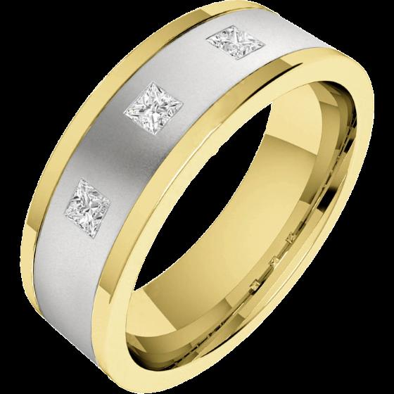 Verigheta/Inel cu Diamant Barbat Aur Alb si Aur Galben 18kt cu trei Diamante Princess, Latime 6.25mm, Top Plat, Interior Rotunjit-img1