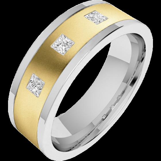 Diamantring/Ehering mit Diamanten für Mann in 18kt Gelbgold und Weißgold mit 3 Princess Schliff Diamanten, außen flach/innen bombiert, 6mm-img1