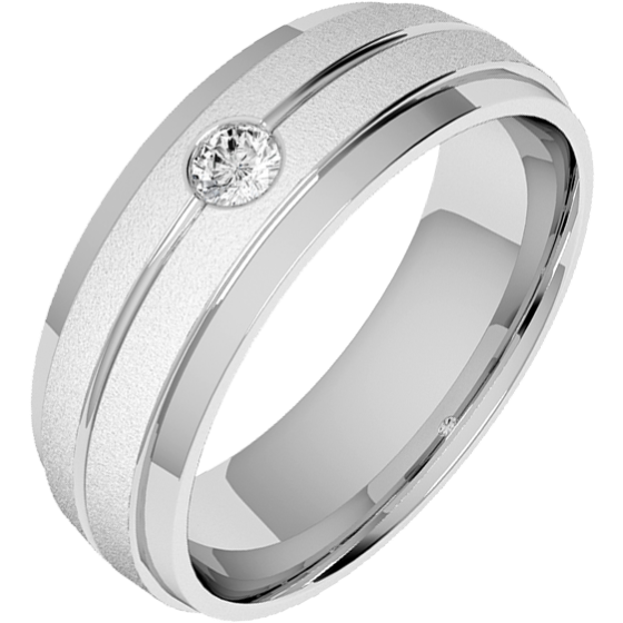 Diamond Ring/Diamond set Wedding Ring for Men in 18ct white gold with a single round brilliant cut diamond, court profile, sandblasted and polished, width 6mm-img1